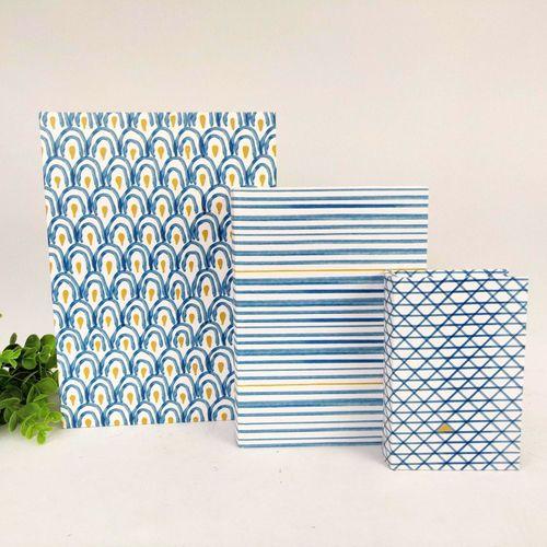 Caixa Livro Decorativa Azul Amarela 3pç