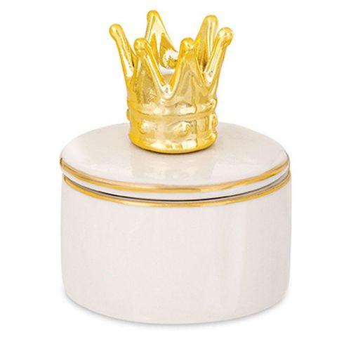 Caixa redonda coroa dourada e branca em cerâmica