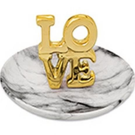 Porta bijoux love dourado