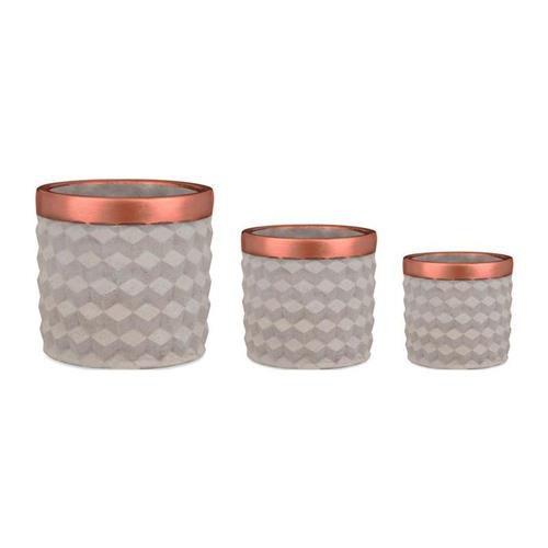 Kit cachepot em cimento - 3 peças