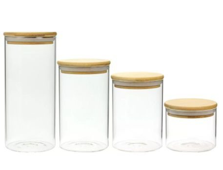 Kit c/4 Potes de Mantimentos C/ Tampa de Bambu (200,250,300 e 450ml)