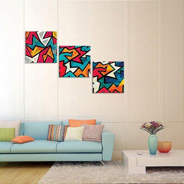 Conjunto de 3 Telas Decorativas em Canvas Abstrato