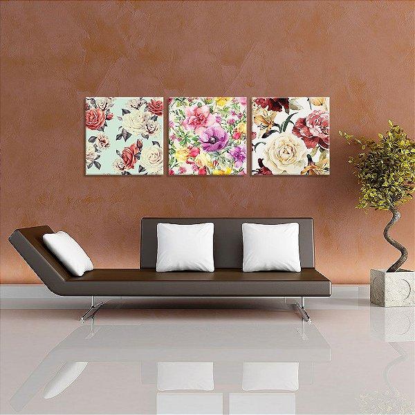 Conjunto de 3 Telas Decorativas em Canvas Traços Florais