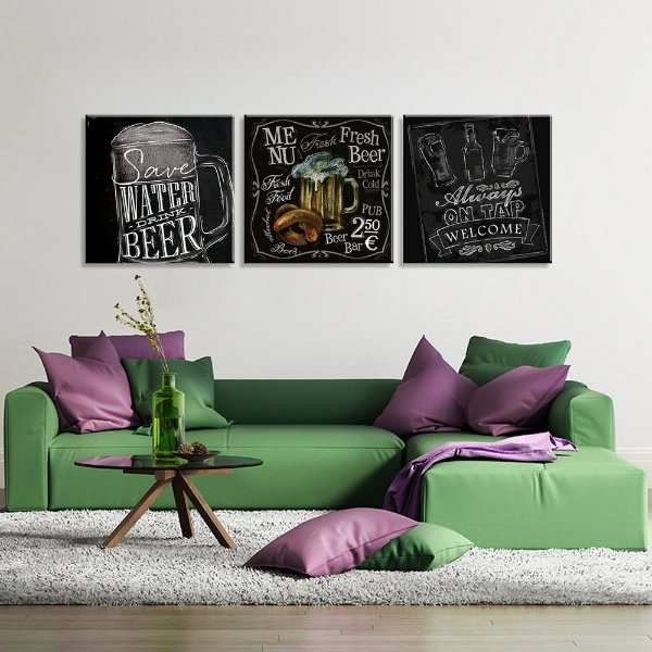 Conjunto de 3 Telas Decorativas em Canvas Menu