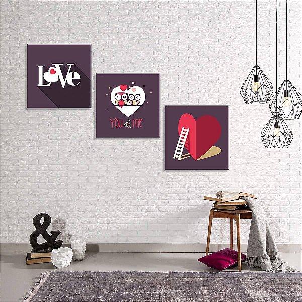 DUPLICADO - Conjunto de 3 Telas Decorativas em Canvas Love