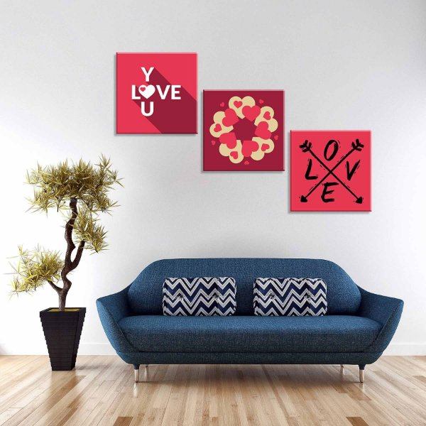 Conjunto de 3 Telas Decorativas em Canvas Love