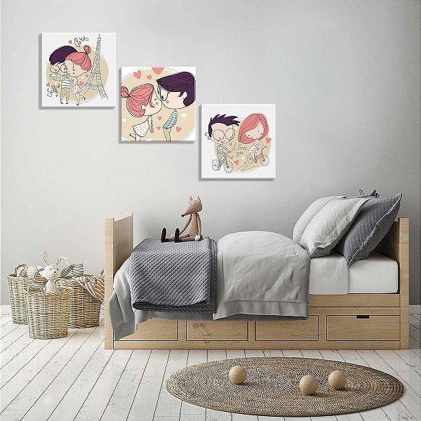 Conjunto de 3 Telas Decorativas em Canvas Lovers