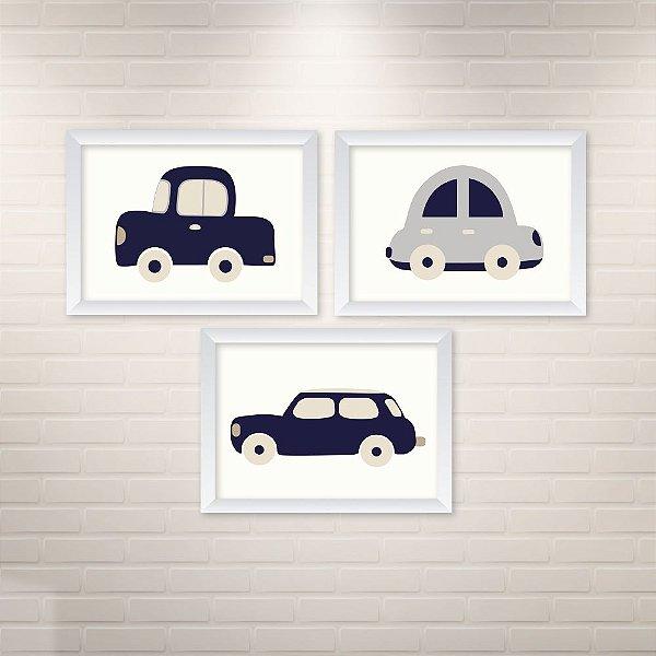 Conjunto de 3 quadros Infantil – Carros Azuis