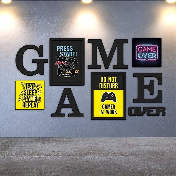 Conjunto Quadros e Letras - Game Over