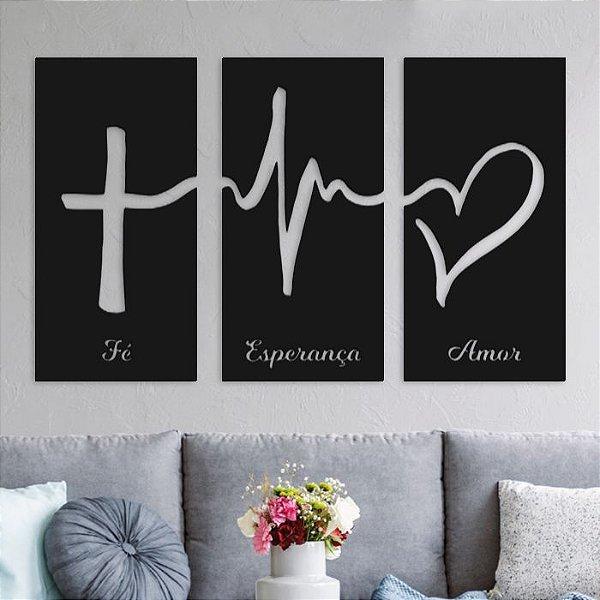 Trio de Painéis Decorativos - Fé, Esperança e Amor - P66