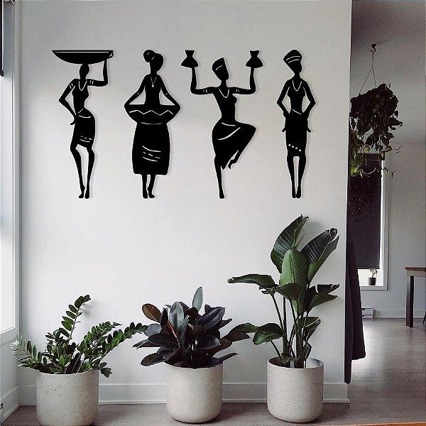 Conjunto de 4 Quadros - Mulheres Africanas