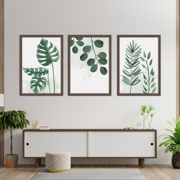 Conjunto de 3 Quadros Decorativos – Folhagem Verde