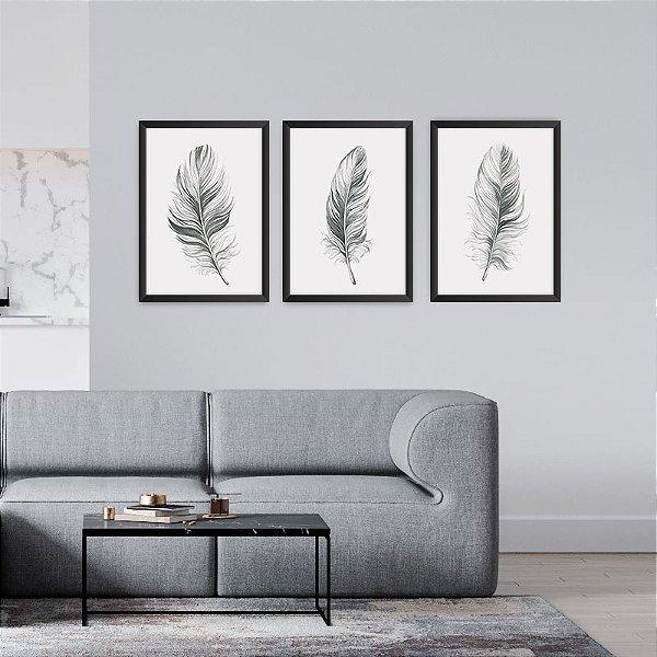 Conjunto de 3 Quadros Decorativos – Penas Preto e Branco