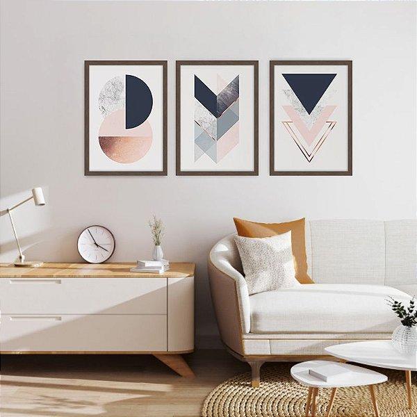 Conjunto de 3 Quadros Decorativos – Geométrico Bronze e Azul
