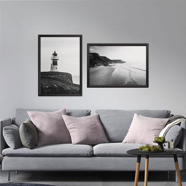 Conjunto de 2 Quadros Decorativos – Paisagem Praia Preto e Branco