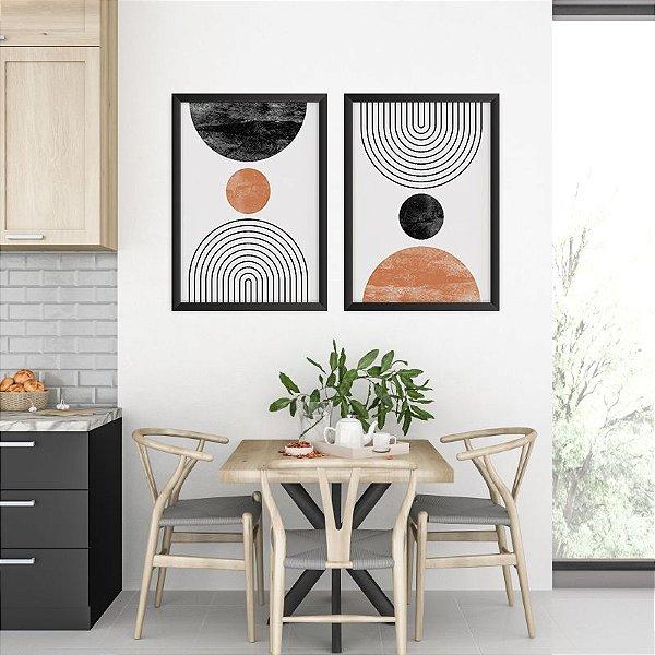Conjunto de 2 Quadros Decorativos – Circulos Bronze e Preto