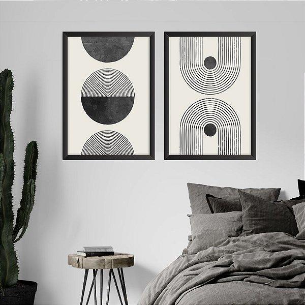 Conjunto de 2 Quadros Decorativos – Círculos e Linhas Preto e Branco