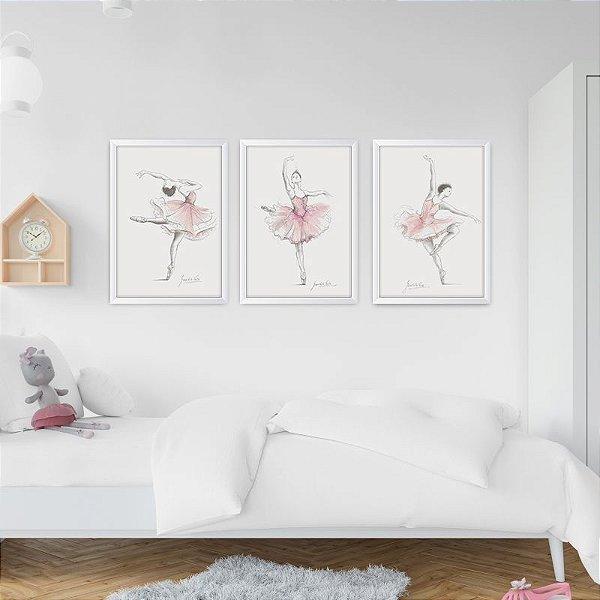 Conjunto de 3 Quadros Decorativos – Bailarina – Rosa Aquarela