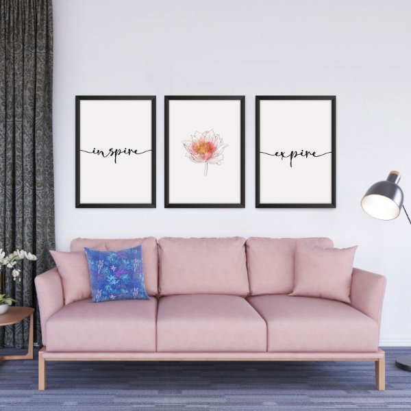 Conjunto de 3 Quadros Decorativos – Flor de Lotus – Inspire – Expire