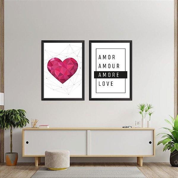 Conjunto de 2 Quadros Decorativos – Coração – Amor – Amour – Amore – Love