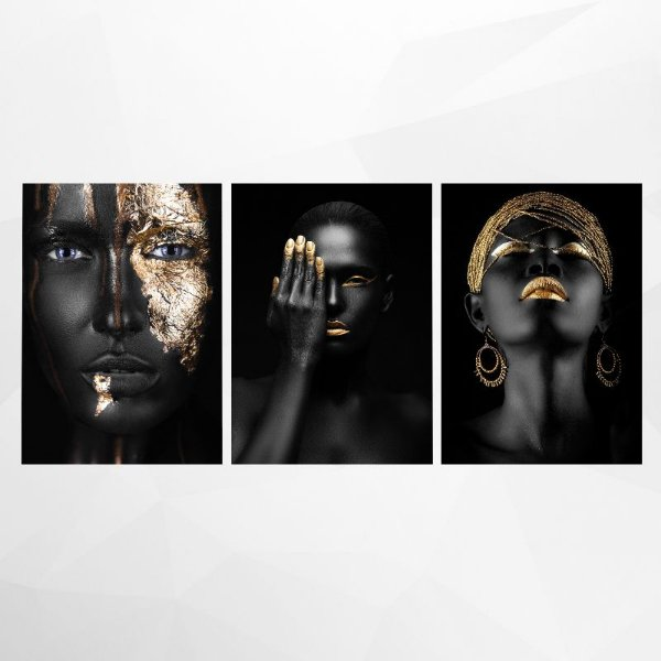 Conjunto de 3 Quadros Decorativos – Black & Gold Woman