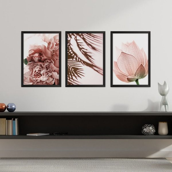 Conjunto de 3 Quadros Decorativos – Folhas e Flores Sépia