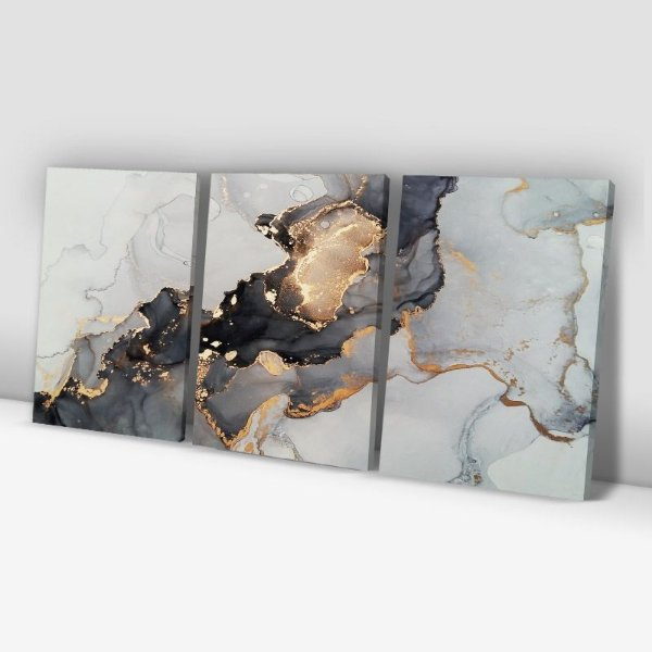 Conjunto de 3 Quadros Decorativos – Cinza e Dourado Abstrato