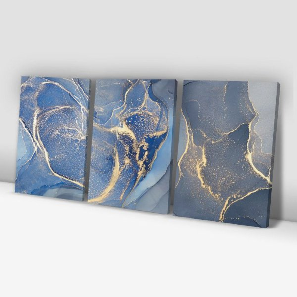Conjunto de 3 Quadros Decorativos – Azul e Dourado Abstrato
