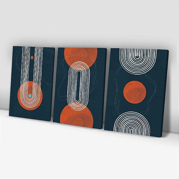 Conjunto de 3 Quadros Decorativos – Linhas – Azul Escuro e Laranja