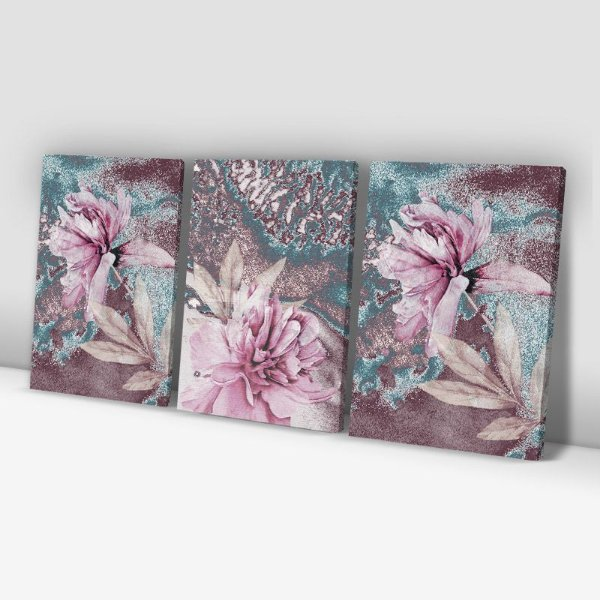 Conjunto de 3 Quadros Decorativos – Pintura Flores Rosa Tons Pastéis