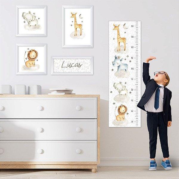Conjunto de 4 quadros Infantil - Safari - Animais - Nome Personalizado