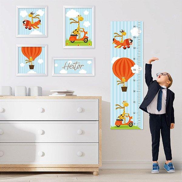 Conjunto de 4 quadros Infantil – Girafa - Nome Personalizado
