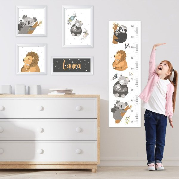 Conjunto de 4 quadros Infantil - Animais da Floresta - Nome Personalizado