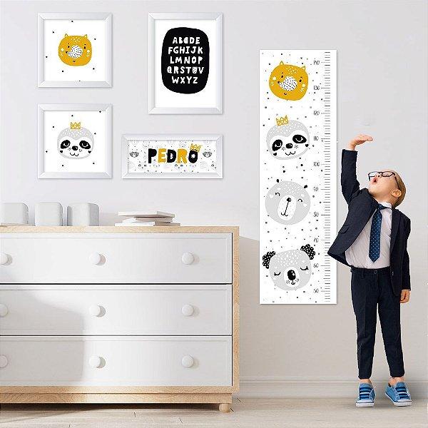 Conjunto de 4 quadros Infantil - Raposa e Preguiça - Nome Personalizado