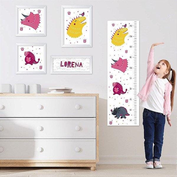 Conjunto de 4 quadros Infantil - Dinossauros - Menina - Nome Personalizado