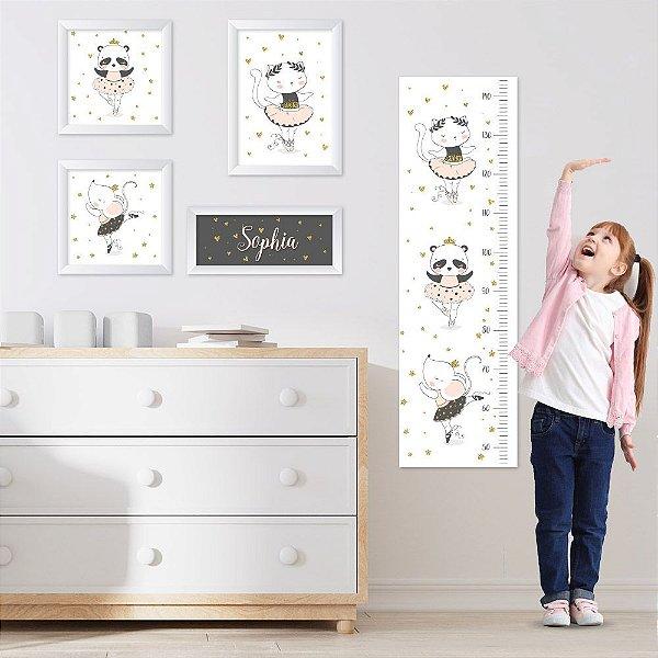 Conjunto de 4 quadros Infantil - Animais - Bailarina - Nome Personalizado