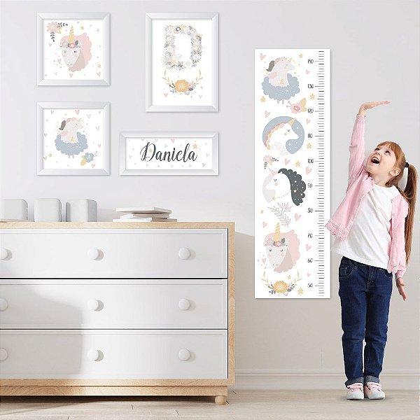 Conjunto de 4 quadros Infantil - Unicórnio - Nome Personalizado