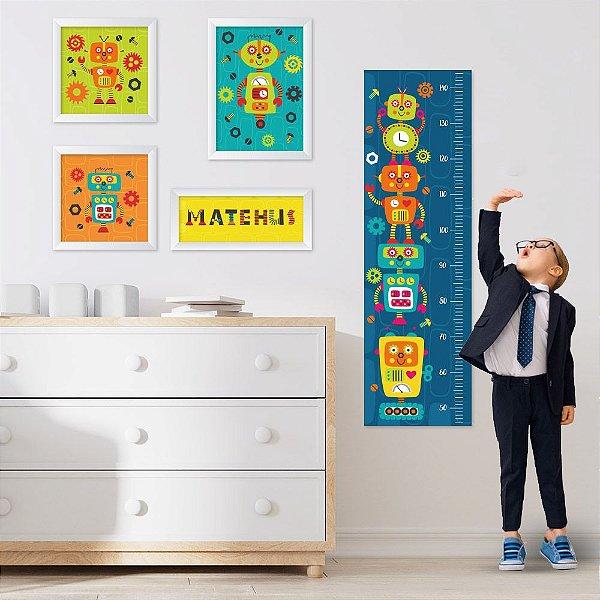 Conjunto de 4 quadros Infantil - Robôs - Nome Personalizado