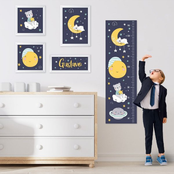 Conjunto de 4 quadros Infantil - Céu Estrelado - Urso Menino - Nome Personalizado