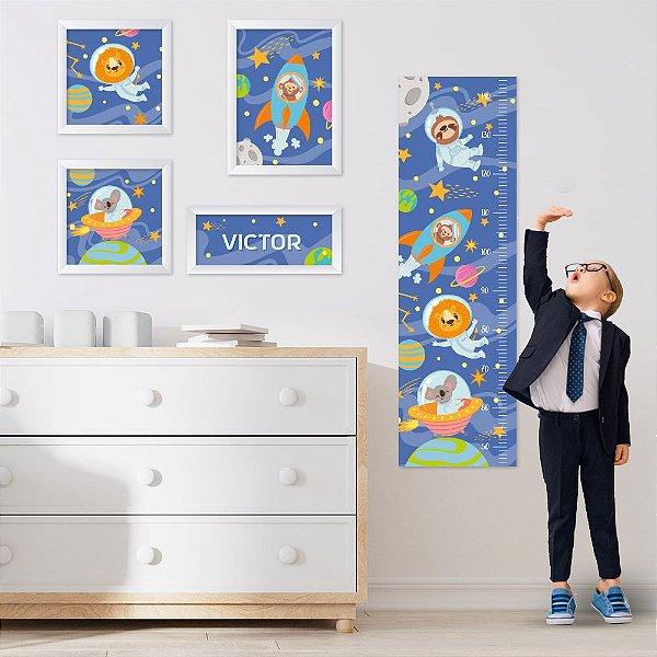 Conjunto de 4 quadros Infantil – Animais no Espaço - Nome Personalizado