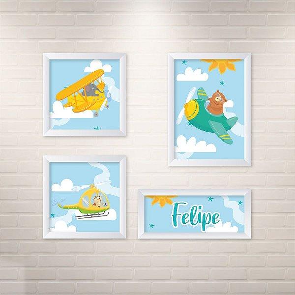 Conjunto de 4 quadros Infantil – Animais Transporte - Nome Personalizado