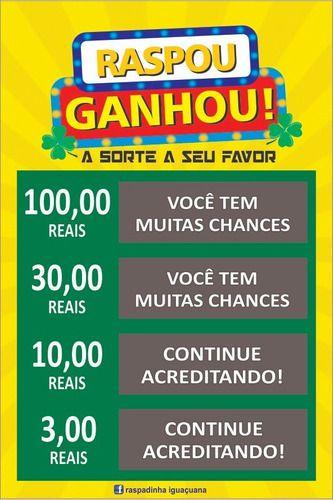1.000 Raspadinha Premiada 9x5 180g  4/0 ou 4/1