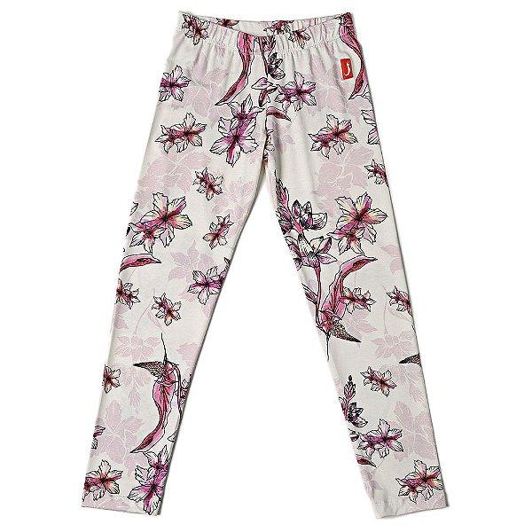Calça Legging Infantil  Menina Jokenpô Floral Rosa