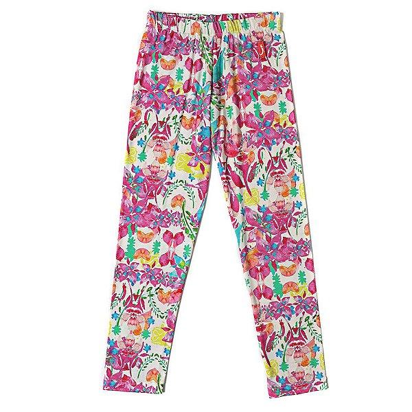 Calça Legging Infantil  Menina Jokenpô Floral Pink