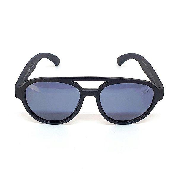 Óculos Infantil de Sol Flexível Polarizado UV400 Aviador Preto