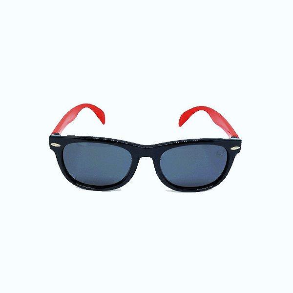 Óculos Infantil de Sol Flexível Polarizado UV400 Preto e Vermelho