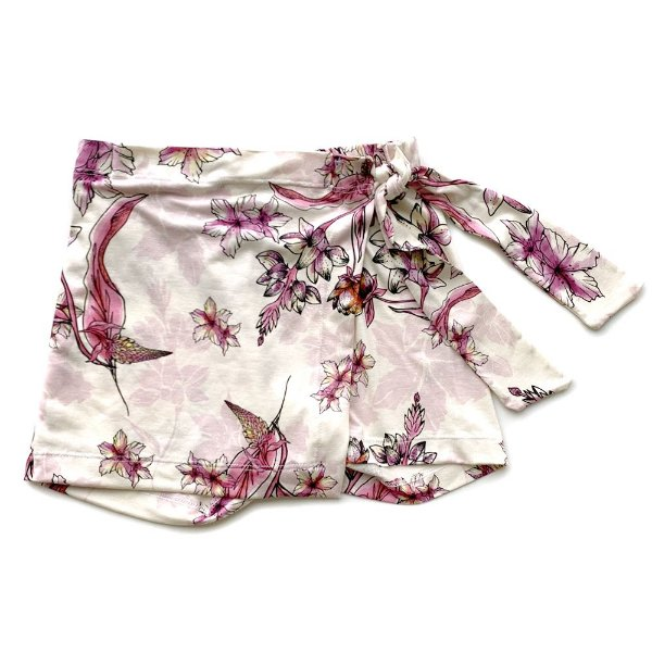 Shorts Saia Infantil Jokenpô Menina Floral Rosa Claro