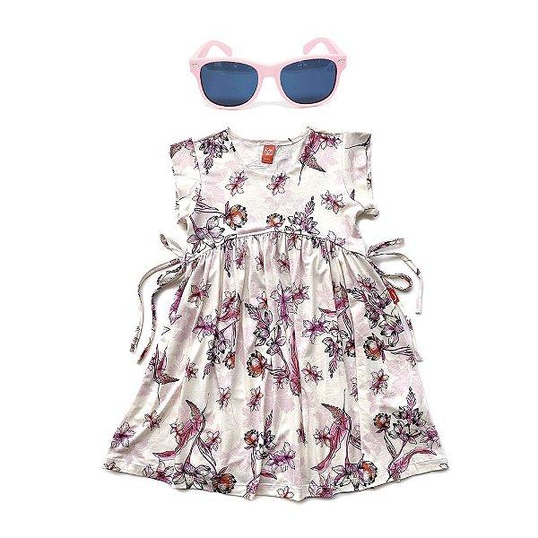 Kit Vestido Infantil Menina Jokenpô Floral + Óculos De Sol Rosa