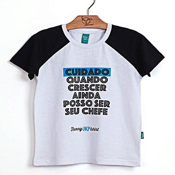 Camiseta Jokenpô Infantil Cuidado Branco