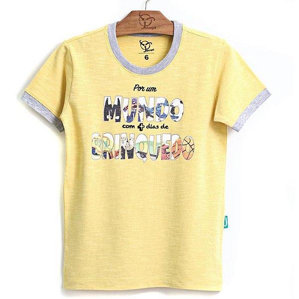 Camiseta Jokenpô Infantil Mundo Amarela